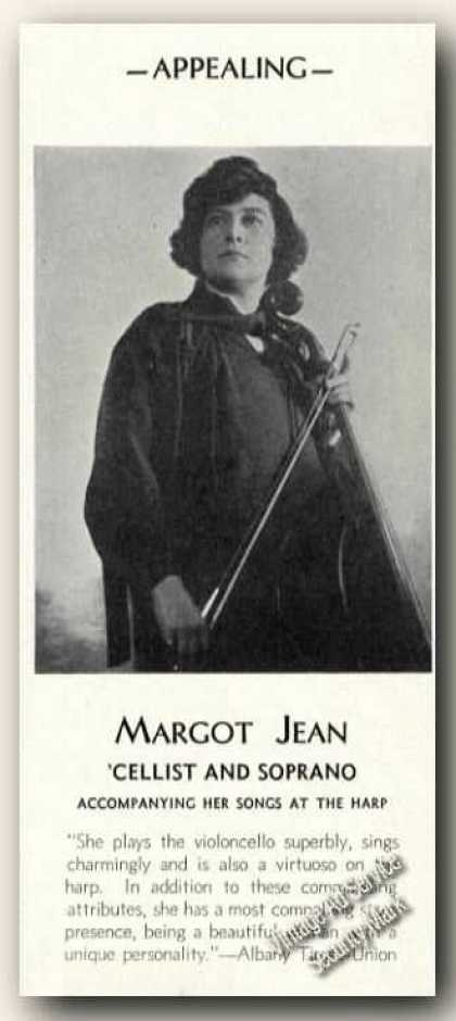Margot Jean Photo Cello Rare Ad Music (1931)