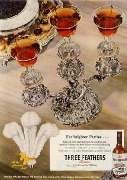 "Three Feathers Whiskey Ad ""For Brighter Parties... (1946)"