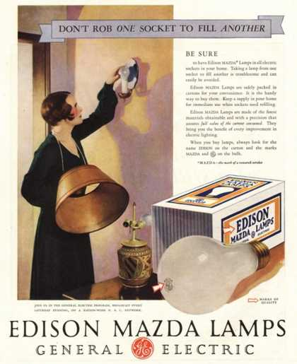 Edison Mazda Lamps General Electric Appliances, USA (1920)