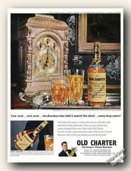 English Dual Chimes Clock Old Charter Bourbon (1968)