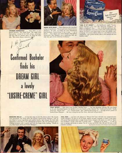 "Kay Daumit's Lustre-Creme Shampoo – Confirmed Bachelor finds his Dream Girl a lovely ""Lustre-Creme"" Girl (1948)"