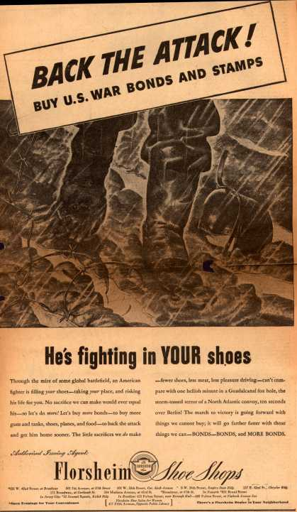 Florsheim Shoe Shop's War Bonds – Back The Attack! Buy U.S. War Bonds and Stamps (1943)