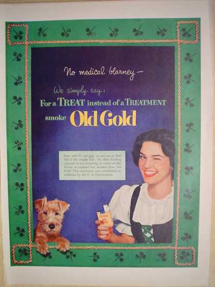 Old Gold Cigarettes For a treat Terrier dog theme (1952)