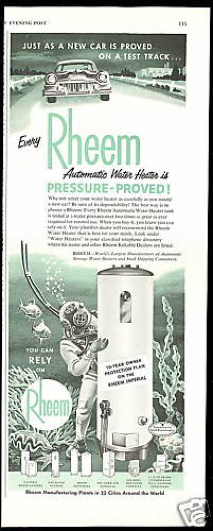 Rheem Gas Water Heater Deep Sea Diver Print (1955)