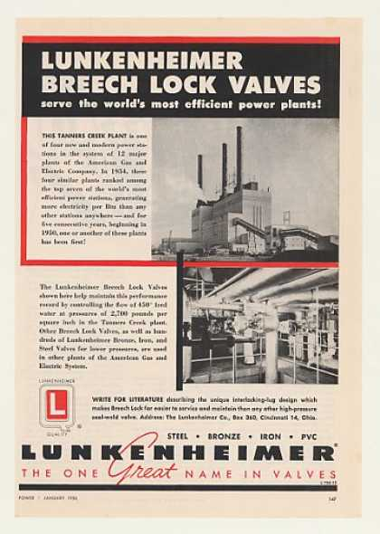 Tanners Creek Power Plant Lunkenheimer Valves (1956)
