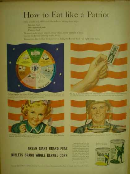 Green Giant Peas. How to eat like a patriot. War theme (1944)