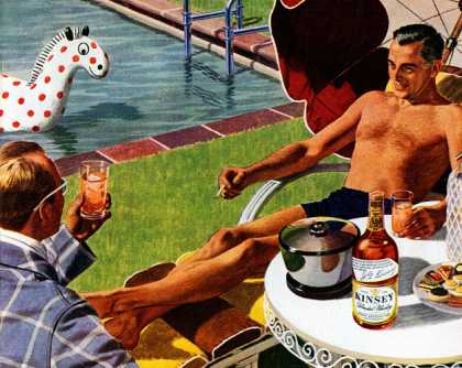 """""""This Kinsey is smooth, isn't it?"""" """"Sure is."""" Kinsey Blended Whiskey (1945)"""