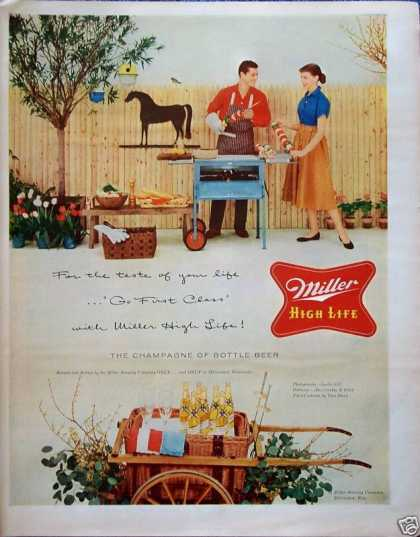 Miller High Life Beer Outdoor Backyard BBQ Kabobs (1956)