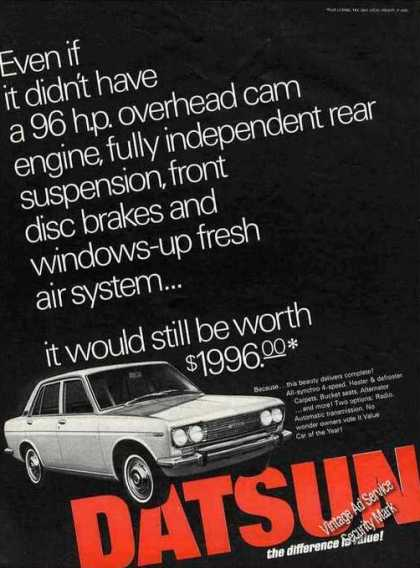 "Datsun $1996 ""The Difference Is Value"" Car (1968)"