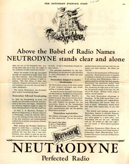 Neutrodyne's Various – Above the Babel of Radio Names Neutrodyne stands clear and alone (1925)