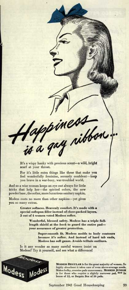 Modes's Sanitary Napkins – Happiness is a gay ribbon... (1943)