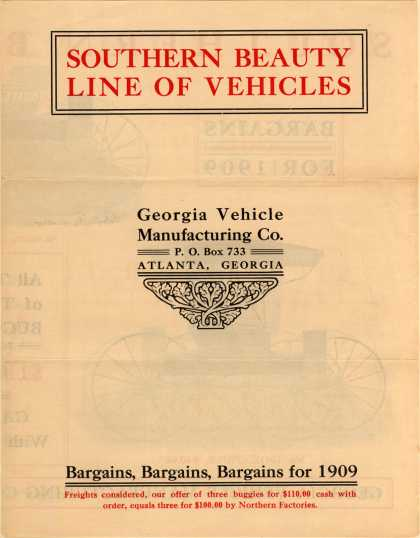 Georgia Vehicle Mfg. Co.'s carriages – Southern Beauty Line of Vehicles (1909)
