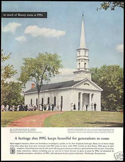 PPG Glass Sudbury Massachusetts Church Photo (1958)
