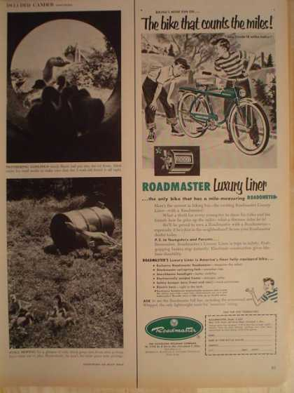 Roadmaster Bicycle Bike Luxury Liner with roadometer 1/2 page (1953)