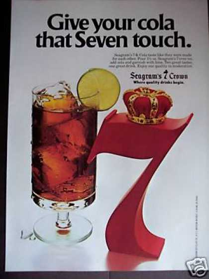 Seagram's 7 Crown Whiskey & Cola Bar Art (1979)