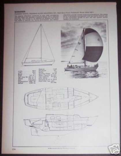 Pearson Wanderer Yacht Sailboat Boat Spec Page (1971)