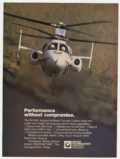 Sikorsky XH-59A Helicopter Performance Photo (1982)
