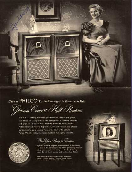 Philco Corporation's Philco 1613 Radio-Phonograph – Only a Philco Radio-Phonograph Gives You This Glorious Concert Hall Realism (1949)