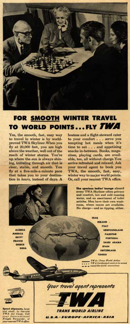 Trans World Airline's Skyliner – For Smooth Winter Travel To World Points... Fly TWA (1948)