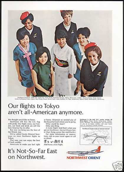 Northwest Orient Airlines Tokyo Hostess Photo (1969)