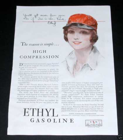 Ethyl Gasoline, Deco, Girl Art (1929)