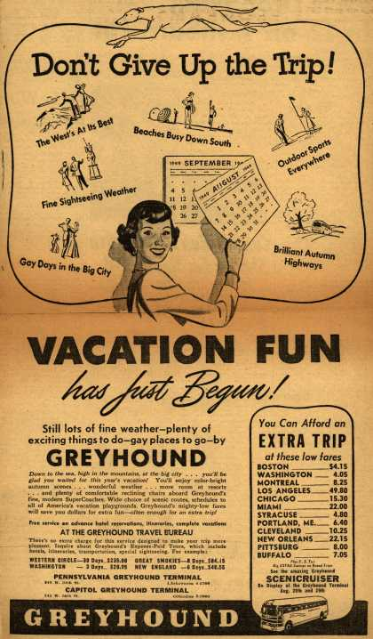 Greyhound's Vacation Travel – Don't Give Up the Trip (1949)