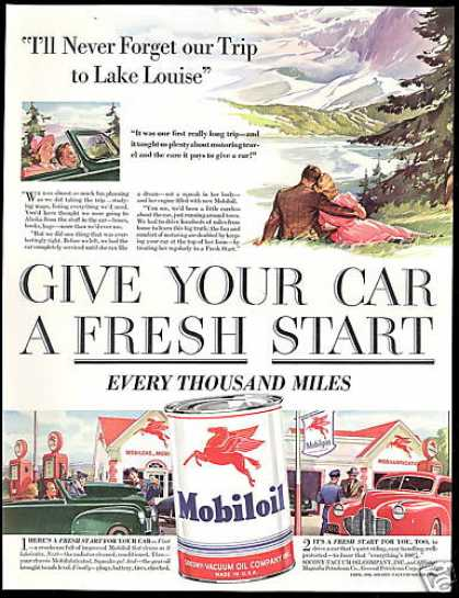 Canada Lake Louise Mobil Mobiloil Gas (1941)