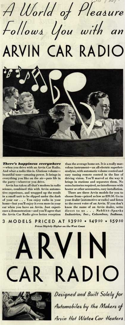 Arvin Radio's car radio – A World of Pleasure Follows you with an Arvin Car Radio (1933)
