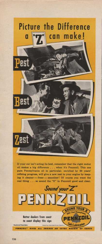 "Sound Your ""Z"" Pennzoil Car Oil (1942)"