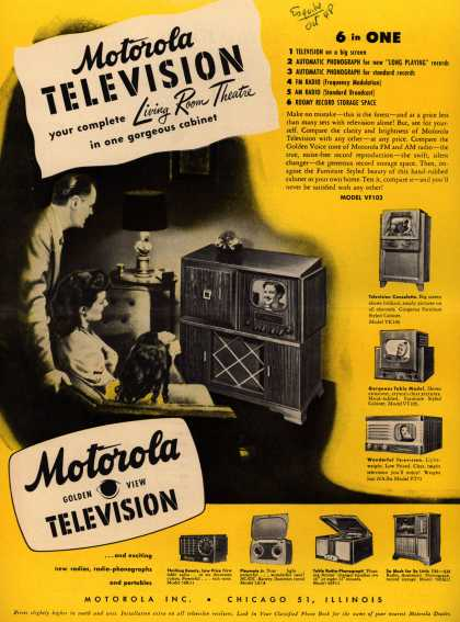 Motorola's Television/Radio/Phonograph – Motorola Television your complete Living Room Theatre in one gorgeous cabinet (1948)