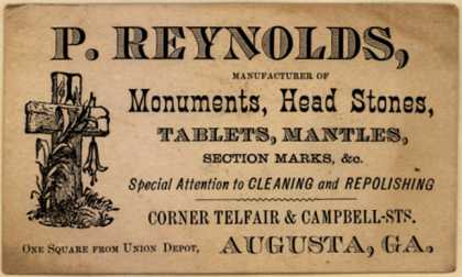 P. Reynold's Monuments, Head Stones – P. Reynolds, Manufacturers of Monuments, Head Stones...