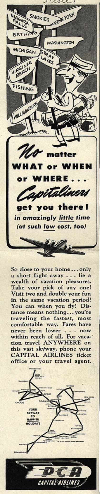 PCA Capital Airline's Capitaliners – No matter what or when or where... Capitaliners get you there (1946)