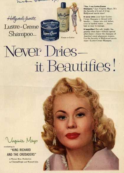 Kay Daumit's Lustre-Creme Shampoo – Never Dries- it Beautifies (1954)