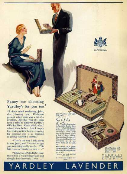 Yardley & Co., Ltd.'s Yardley gifts for men and women – Fancy me choosing Yardley's for you too (1933)