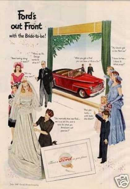 "Ford Car Ad ""Out Front With Bride To Be... (1947)"