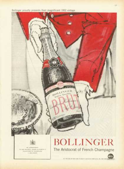 Bollinger Brut French Champagne Ad 1952 (1958)