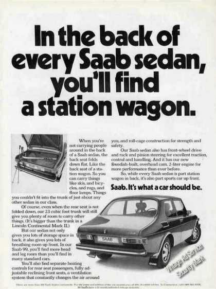 """In the Back of Every Saab Find Station Wagon"" (1973)"