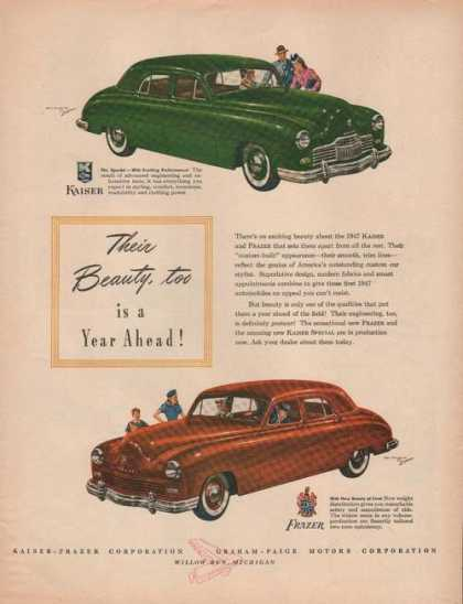 Green Kaiser & Red Frazer Cars (1946)