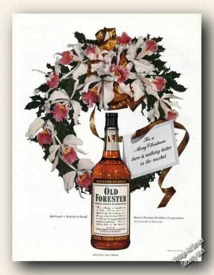 Old Forester Christmas Wreath Orchids Antique (1949)