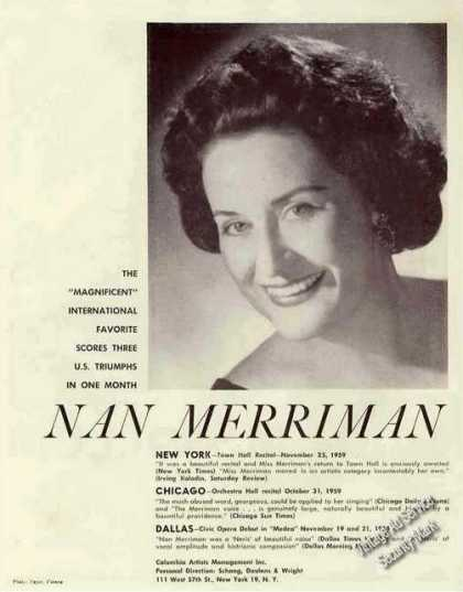Nan Merriman Photo Music Booking (1960)