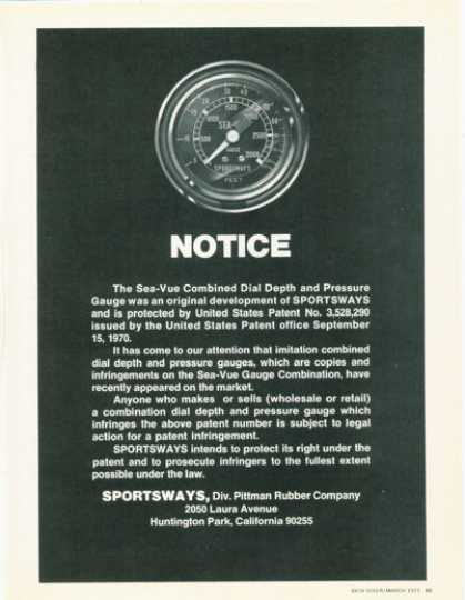 Sportsways Sea Vue Gauge Scuba Diving (1973)