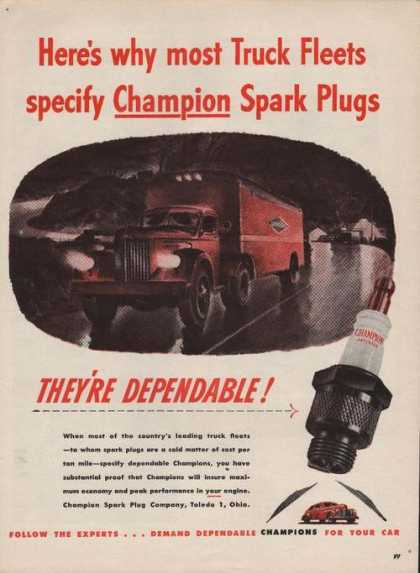 Truck Fleets Specify Champion Spark Plugs (1946)