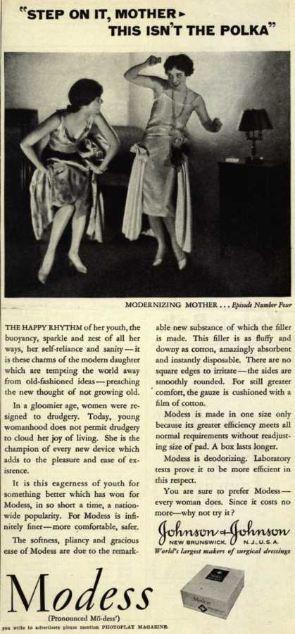 "Modes's Sanitary Napkins – ""Step On It, Mother – This Isn't The Polka"" (1929)"