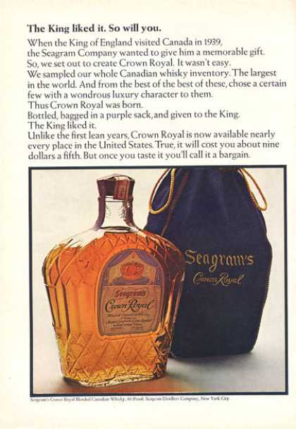 Seagram Crown Royal Purple Sack Bottle (1966)