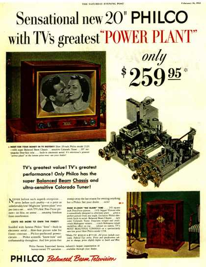 "Philco's Television – Sensational new 20"" PHILCO with TV's greatest ""POWER PLANT"" only $259.95 (1952)"