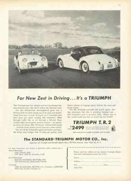 Triumph Tr 2 Sports Car Front Back View (1955)