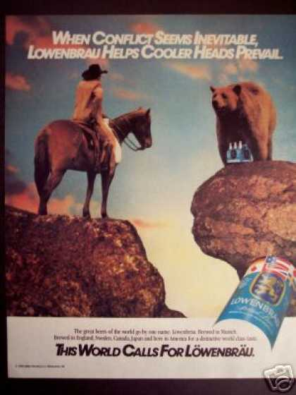 Cowboy & Grizzly Bear Art Lowenbrau Beer (1986)