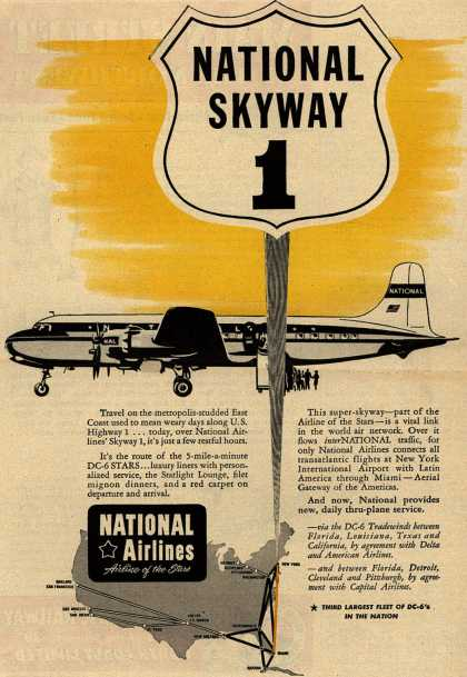 National Airline&#8217;s DC-6&#8217;s Routes &#8211; National Skyway 1 (1951)