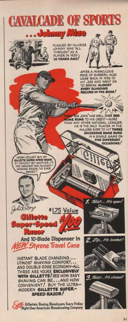 Gillette Razor Johnny Mize (1949)