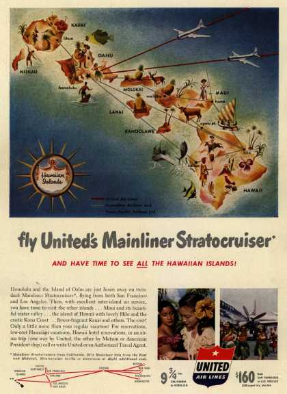 United Air Line's Hawaii – fly United's Mainliner Stratocruiser (1951)